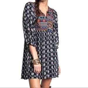 Umgee Navy Mix Boho Dress